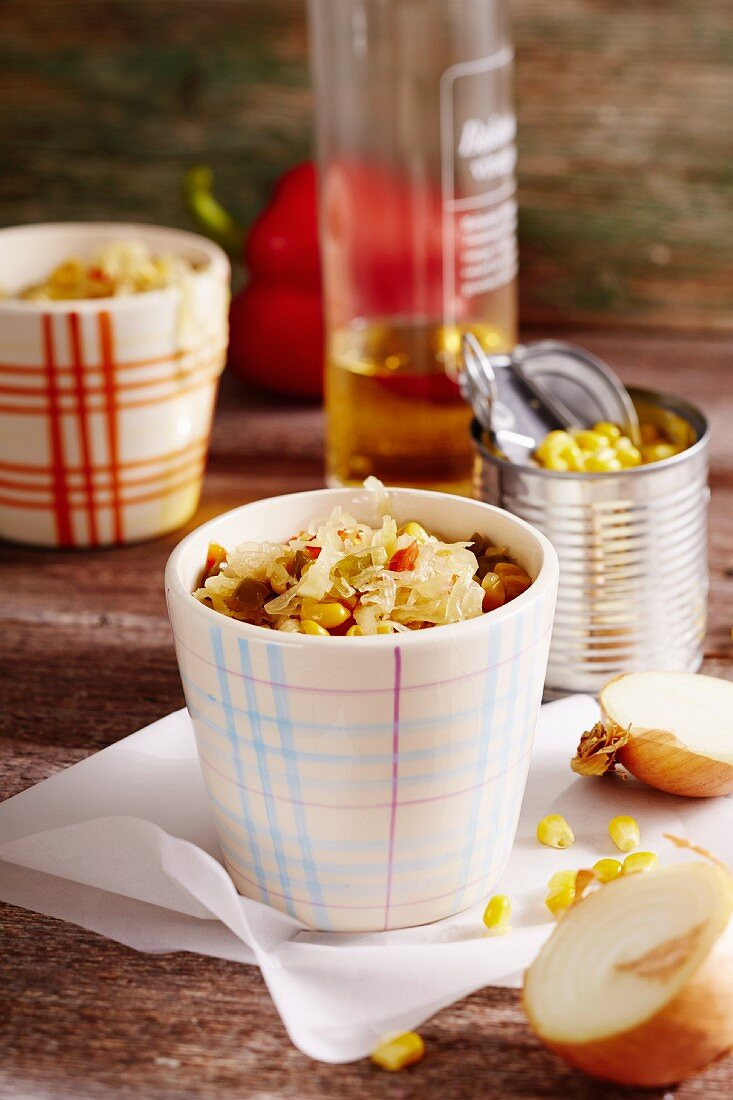 Spicy white cabbage and sweetcorn relish
