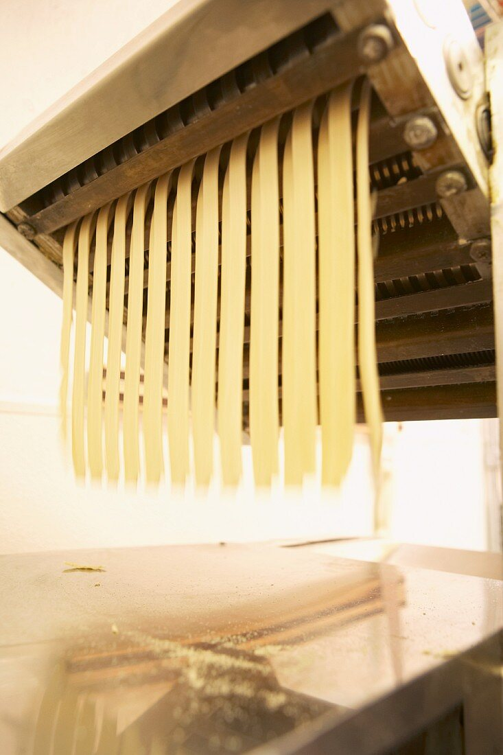 Tagliatelle being made with a pasta machine (close-up)