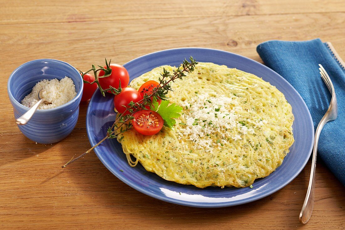Maltese-style omelette (noodle omelette with herbs and Parmesan cheese)