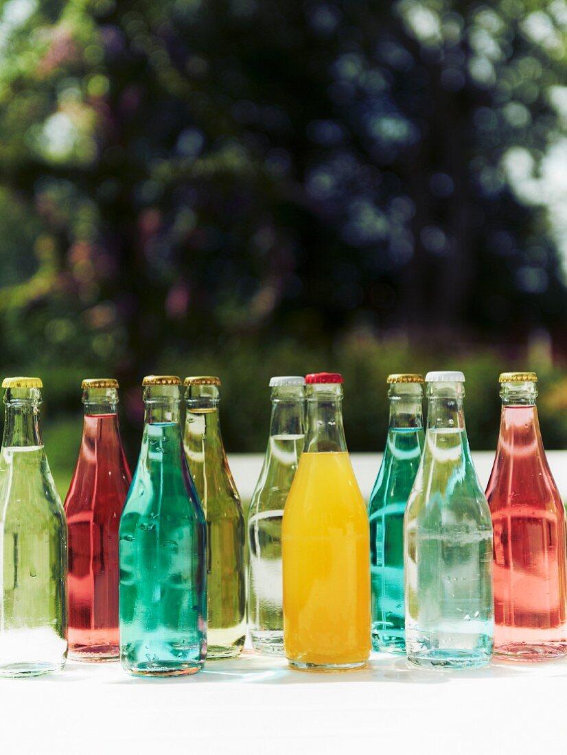 Various drinks in bottles for a mid-summer festival