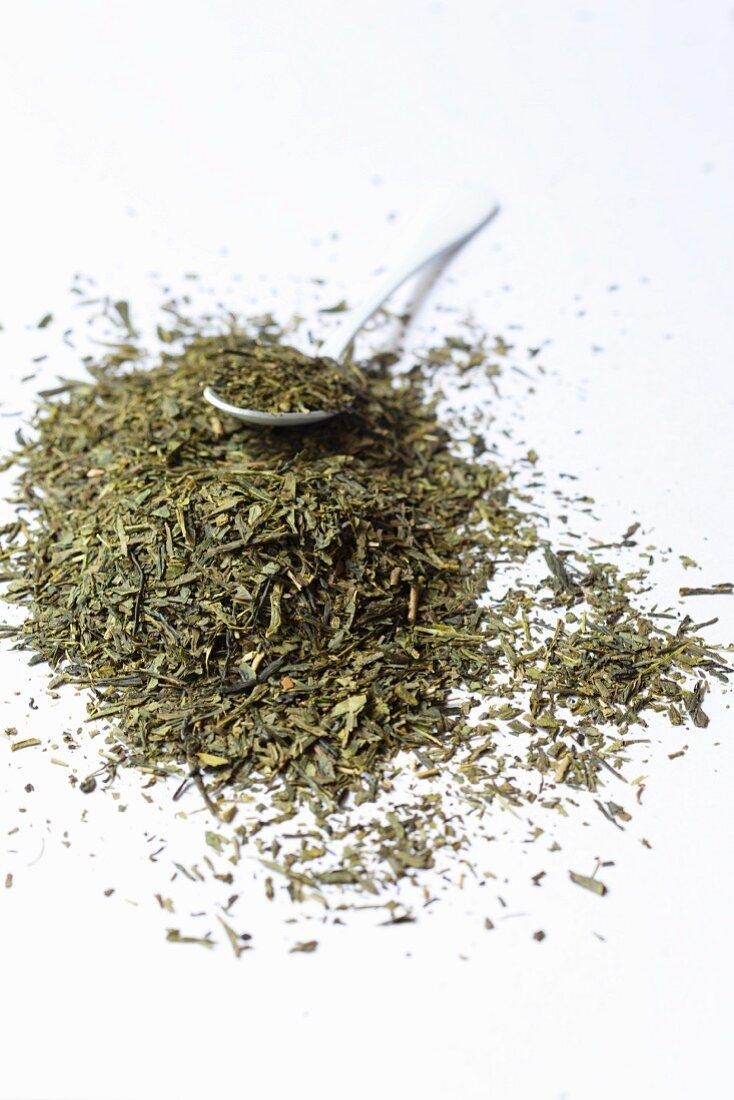 Dried Sencha tea leaves