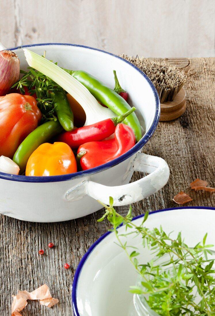 Vegetables in a colander