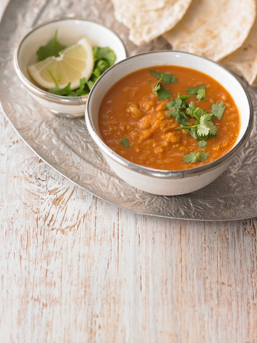 Lentil soup with red lentils and coriander