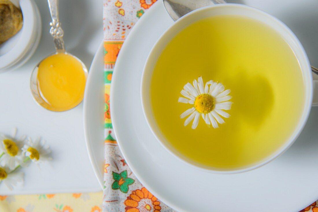 Kamillentee in Tasse mit Kamillenblüte (Draufsicht)