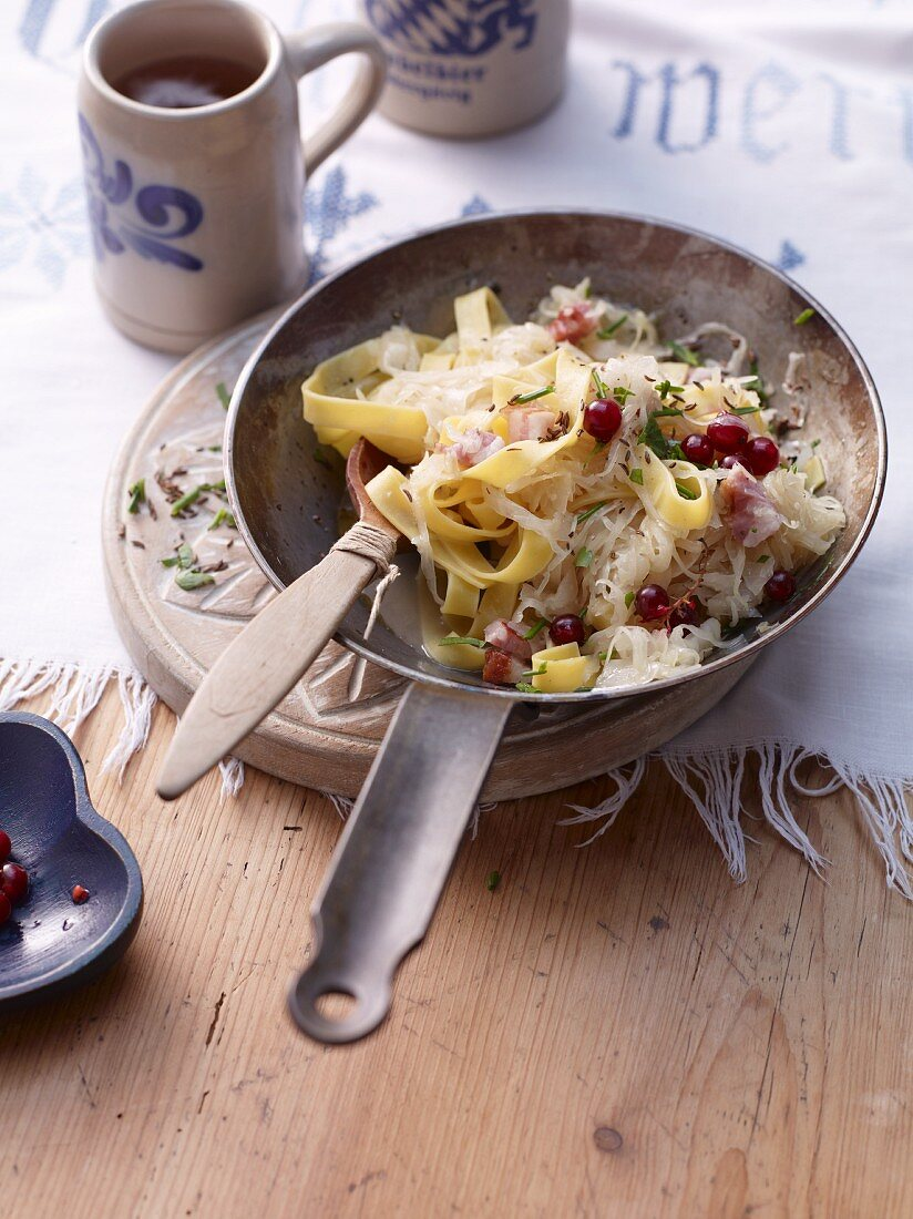 Fried pasta and sauerkraut