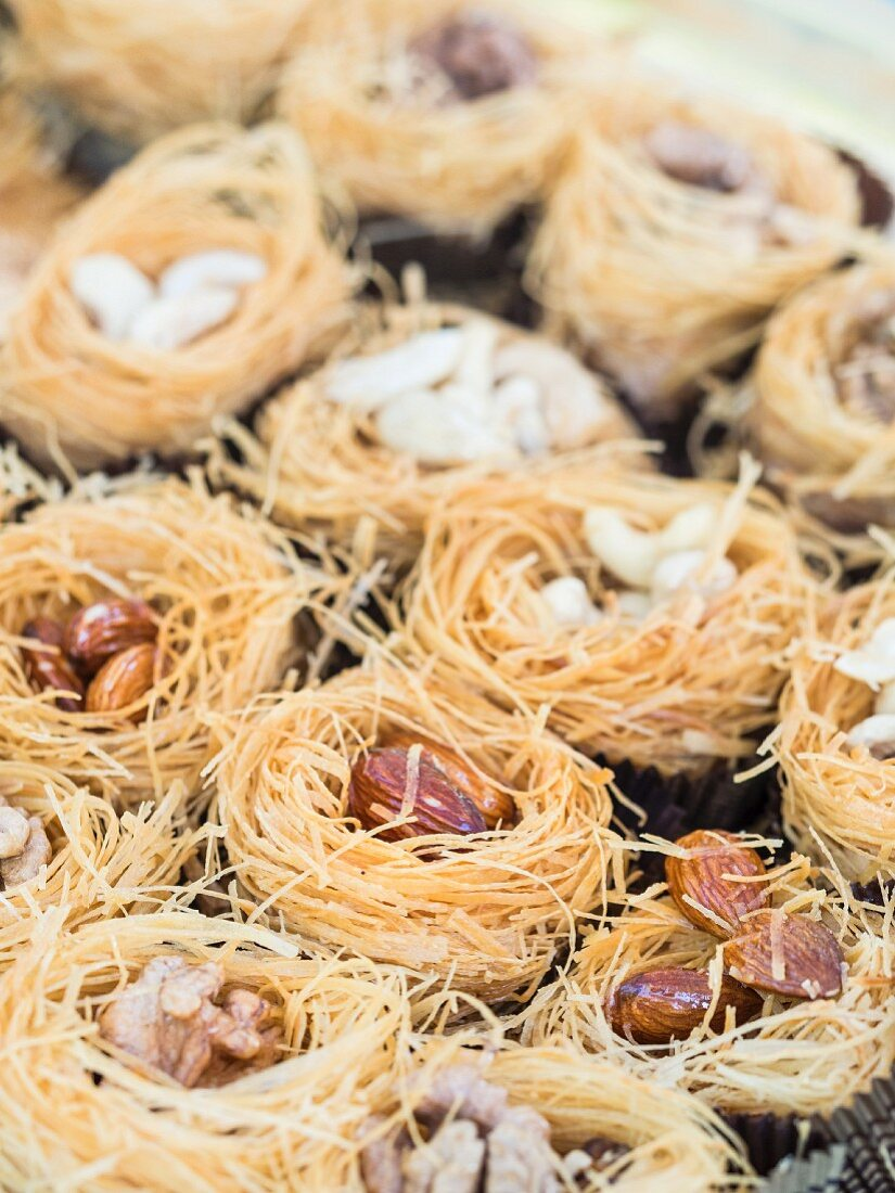 Kadayif nests with various nuts
