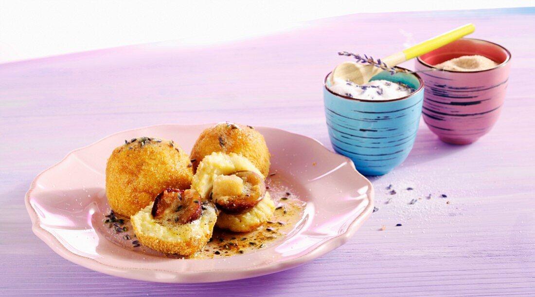 Damson dumplings with lavender cake