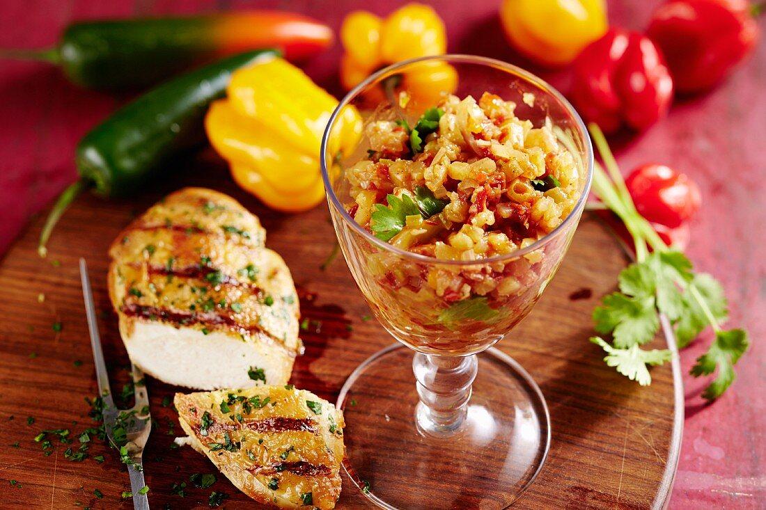 Grilled chicken breast with jerk salsa, Caribbean