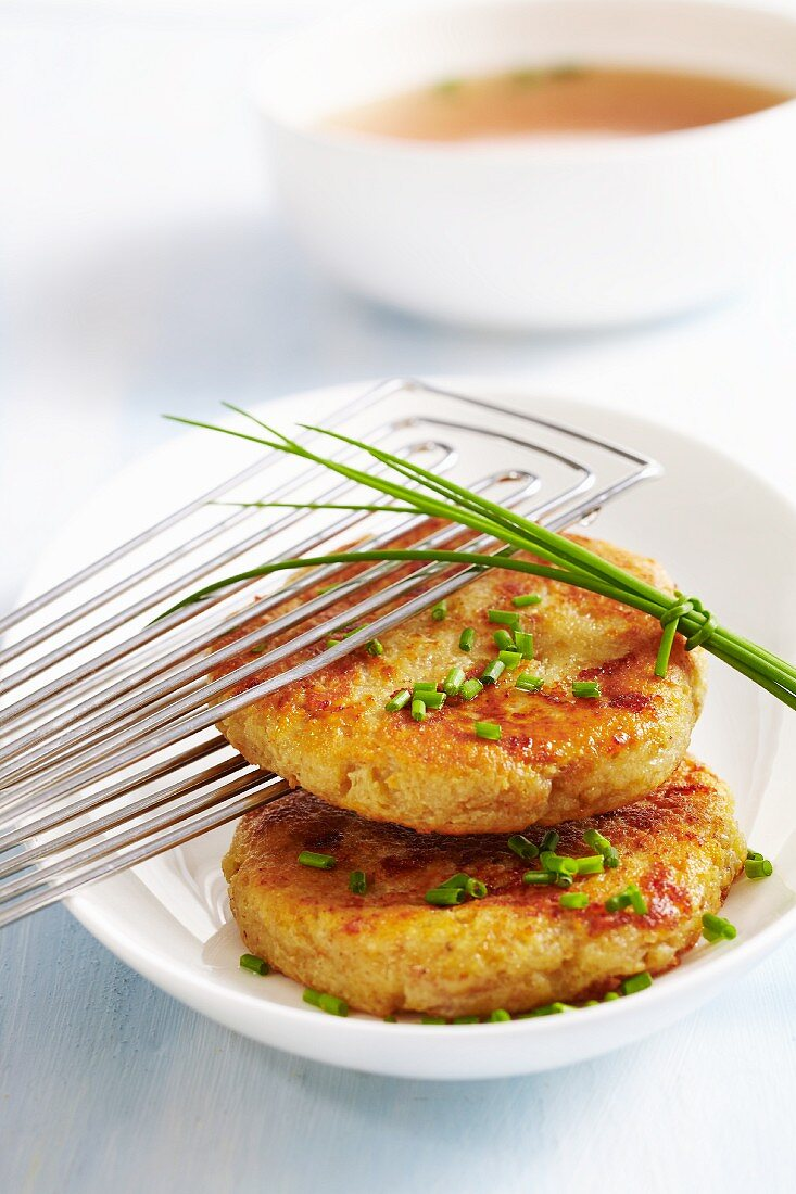 Kapressknödel (cheesy bread dumplings with herbs, South Tyrol)