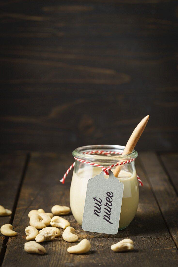 A jar of cashew nut butter
