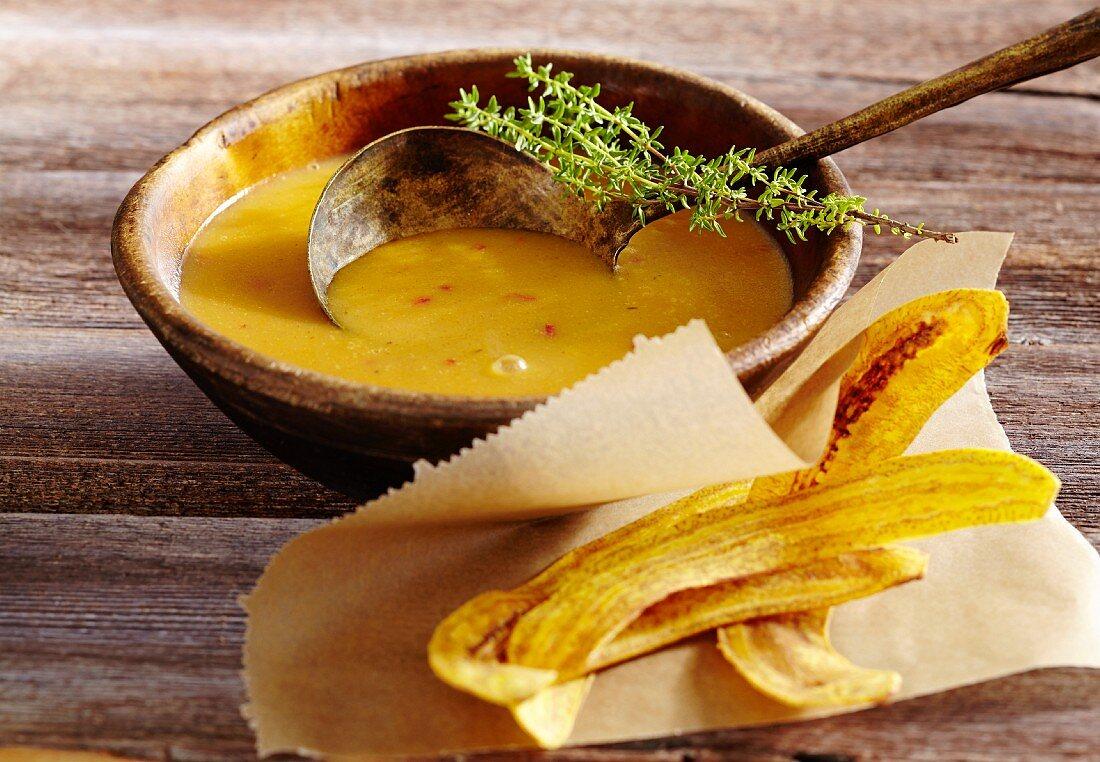 Caribbean plantain soup