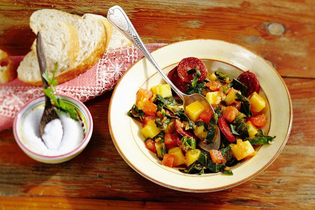 A chard and tomato medley with chorizo (Mexico)
