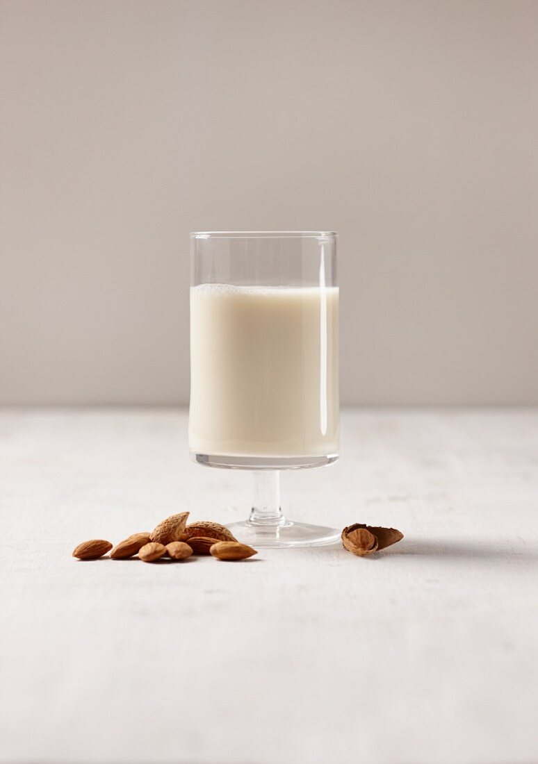 A glass of vegan almond milk