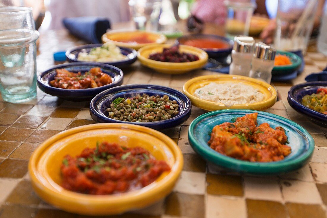 Various Arab dishes in a restaurant