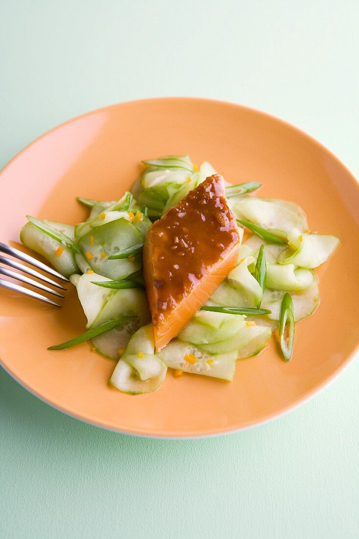 Salmon with a mustard and ginger glaze and a spicy cucumber salad
