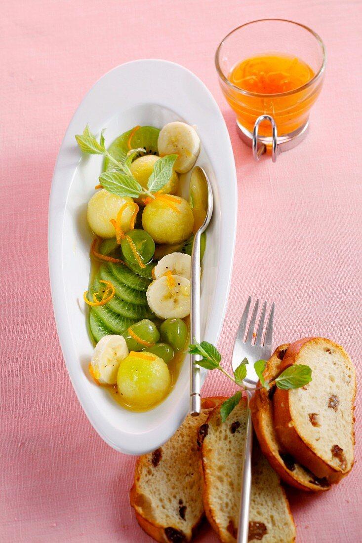 Fruit salad with an orange dressing