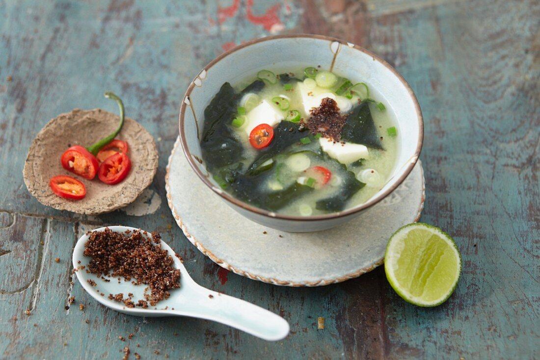 Vegan miso soup with kaniwa, silken tofu and wakame algae