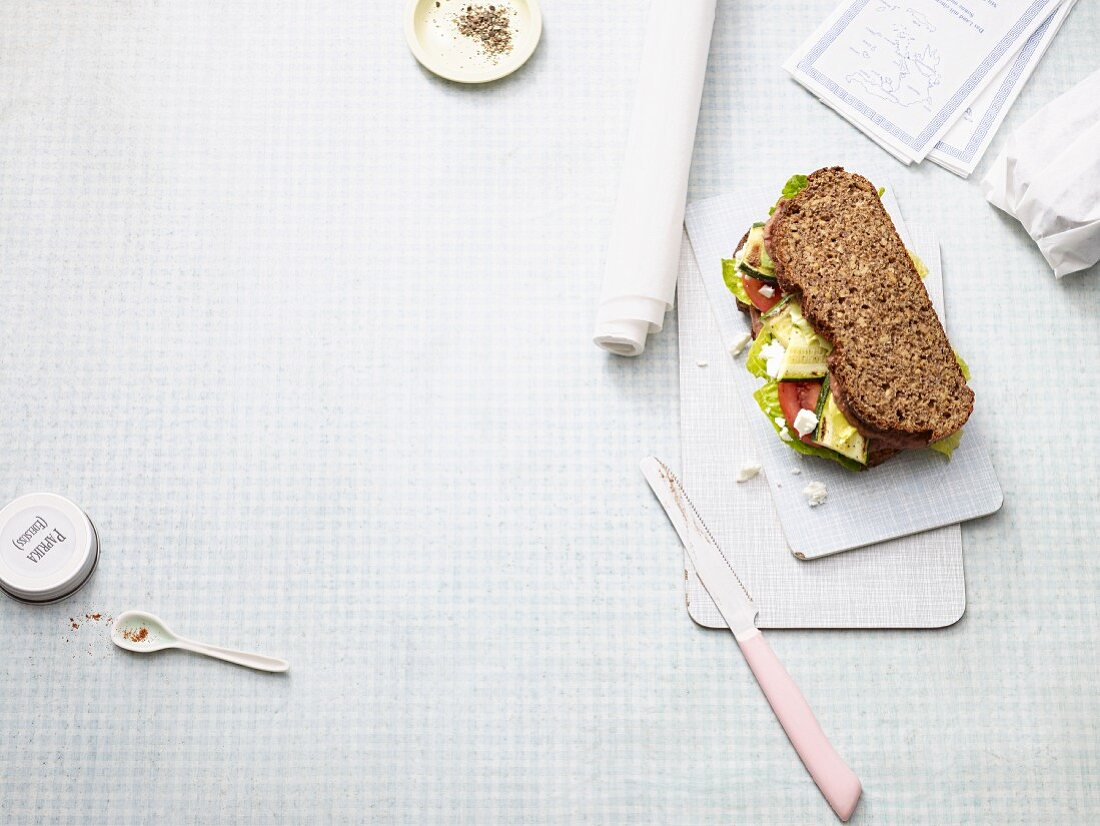 A low carb Greek sandwich with tomatoes, courgettes and feta cheese