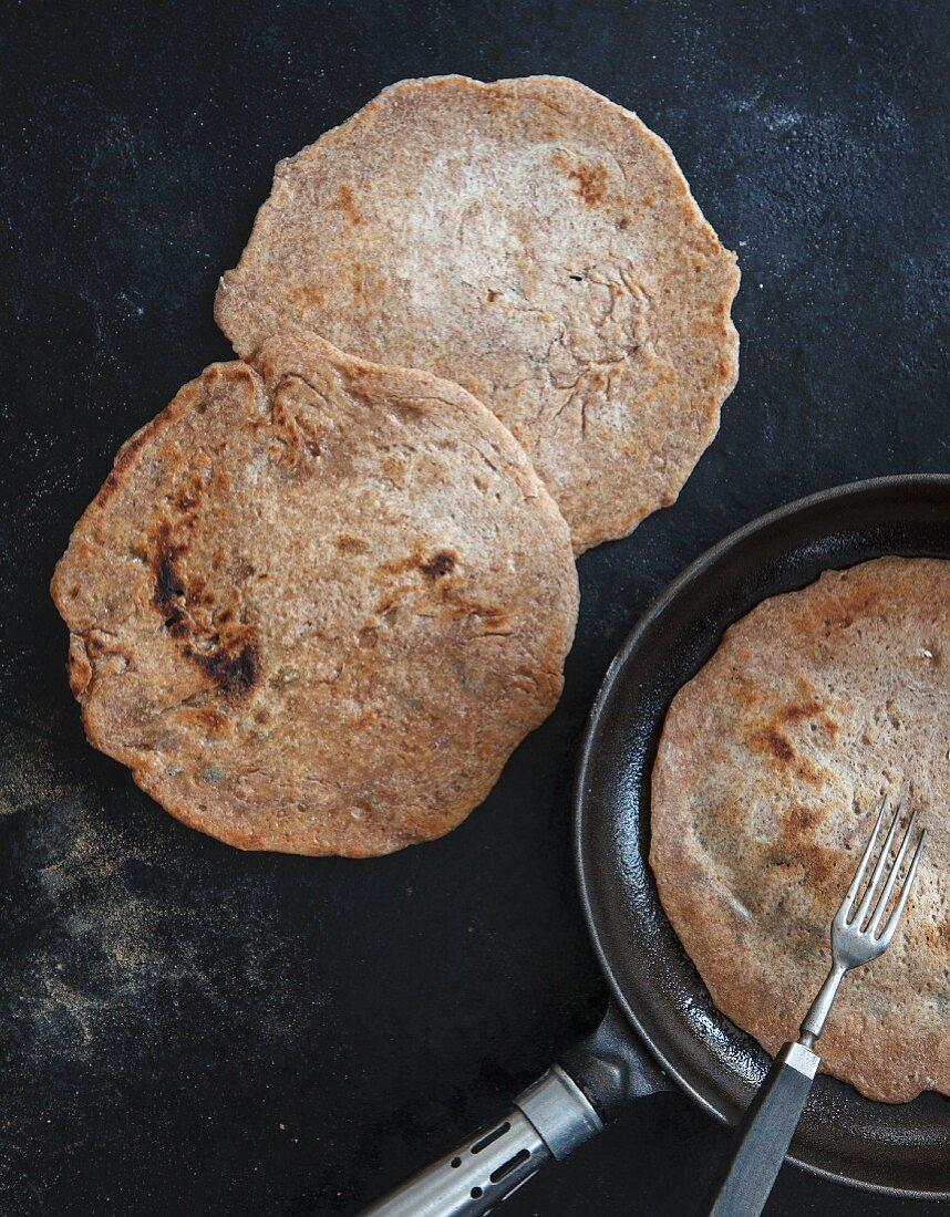 Homemade wholemeal tortillas