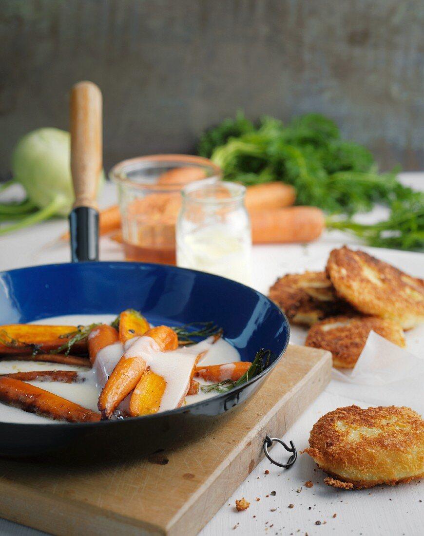 Glazed honey carrots with breaded kohlrabi slices