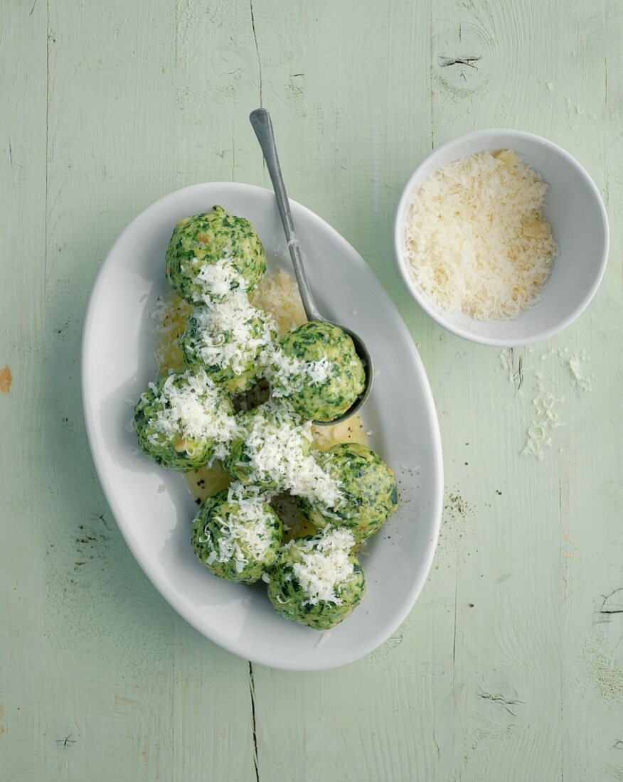 Spinach dumplings with fresh Parmesan cheese