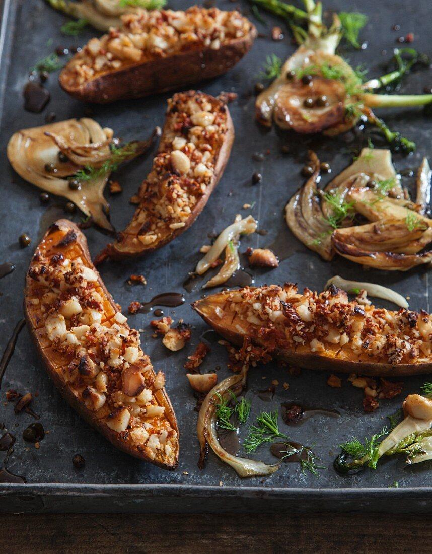 Oven-baked sweet potatoes with macadamia nut crumble