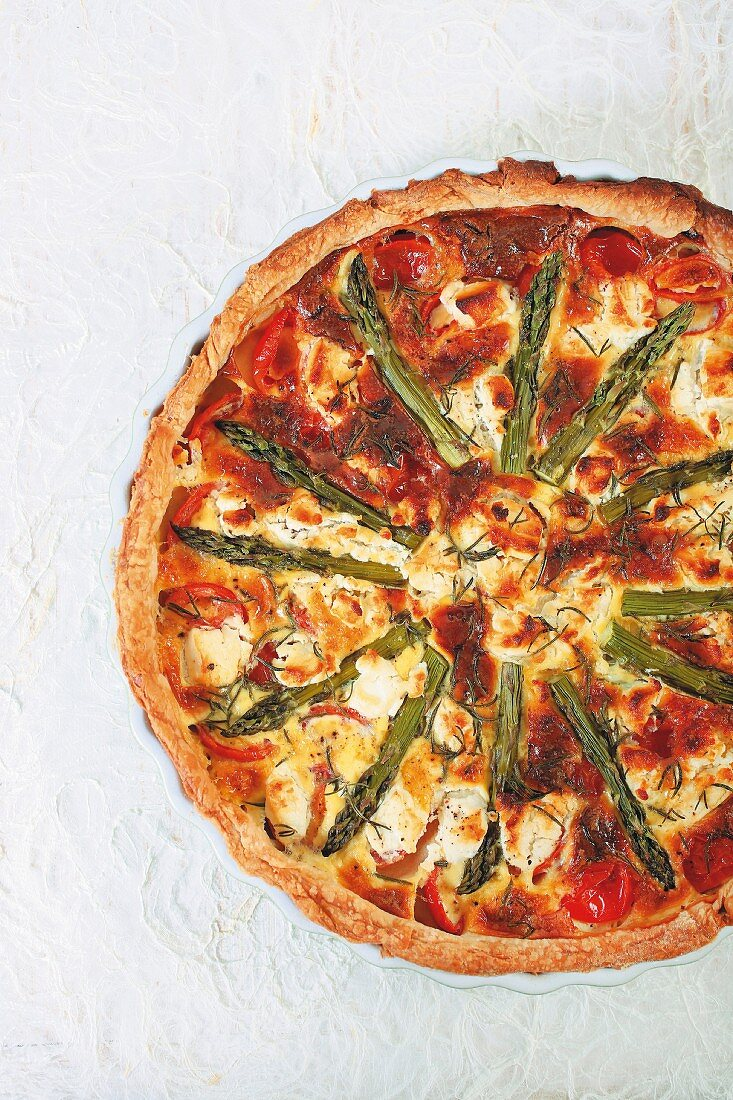 A tomato, asparagus and goat's cheese quiche