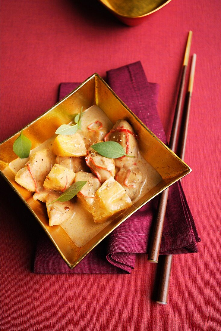 Chicken and pineapple curry with ginger rice