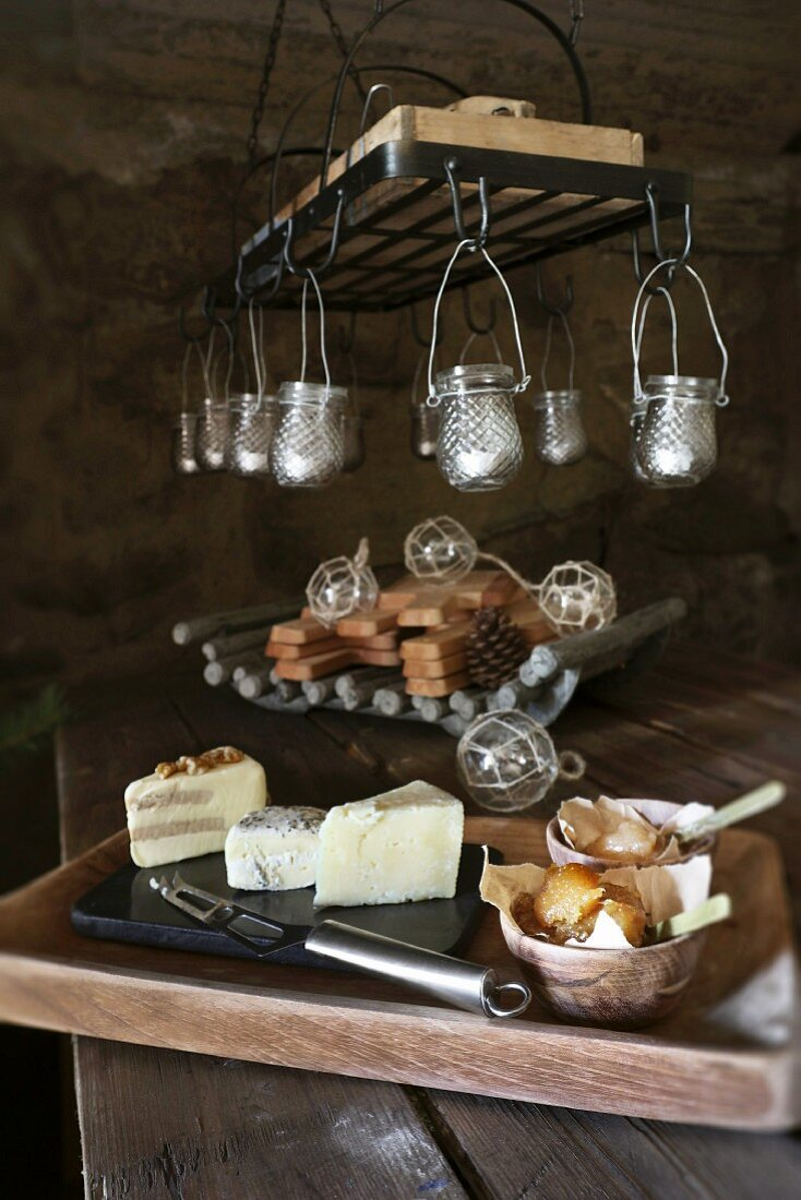 Christmas in a wine cellar: fig compote on cheeseboard