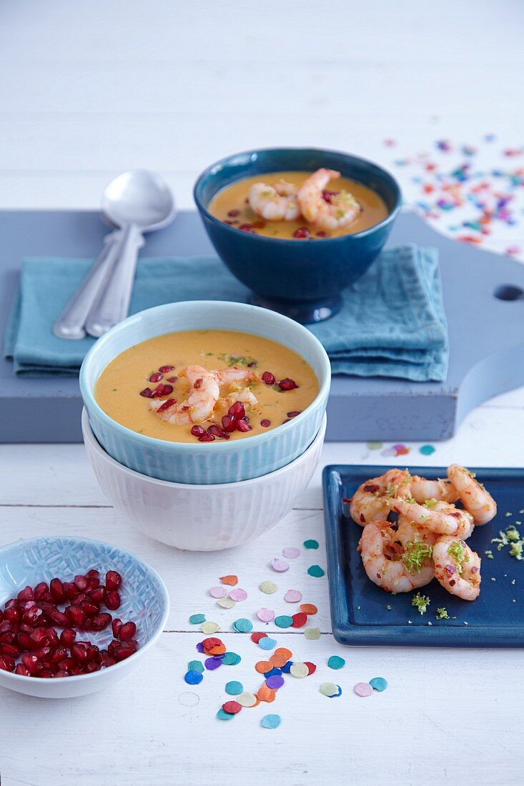 Sweet potato soup with chilis and prawns