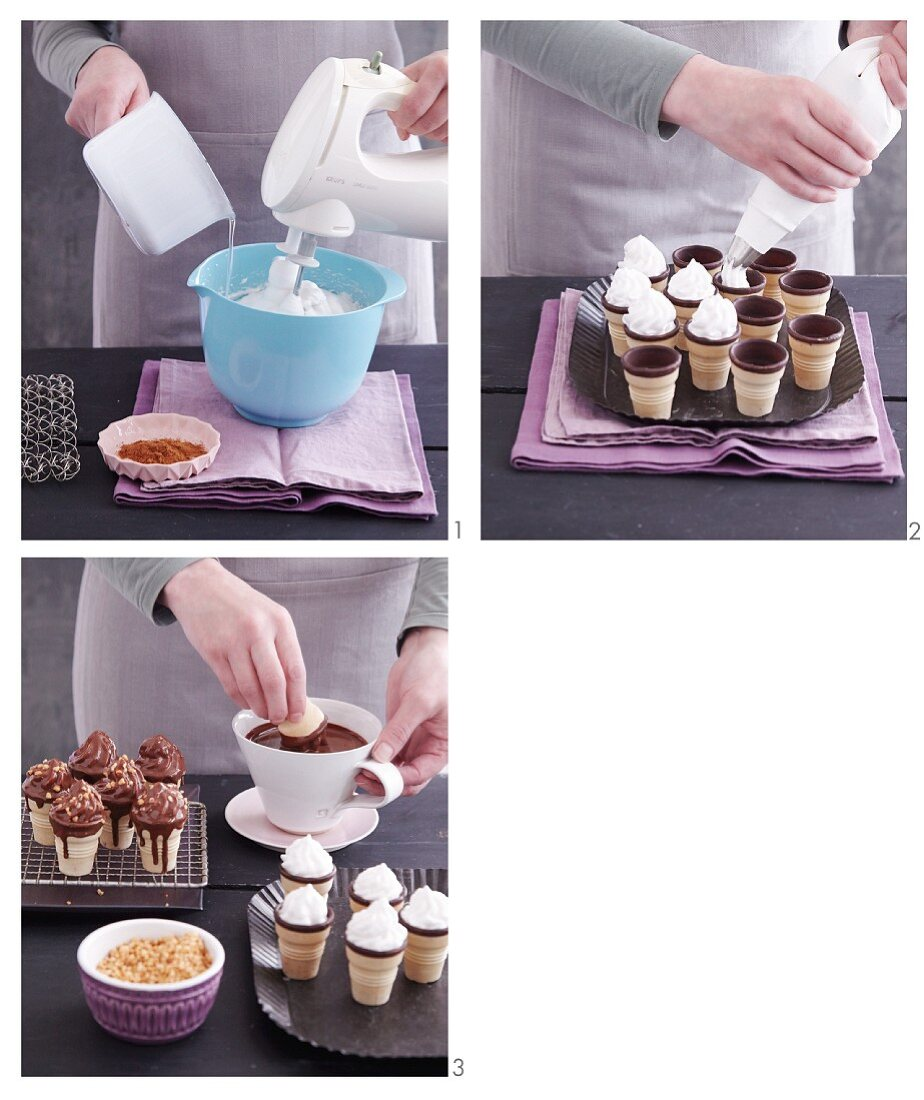 Chocolate kisses being made in ice cream cones