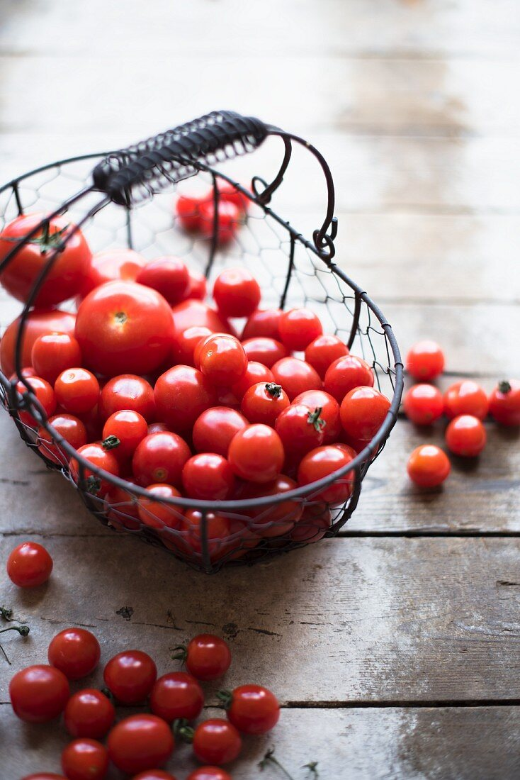 Tomatoes in a wire basket