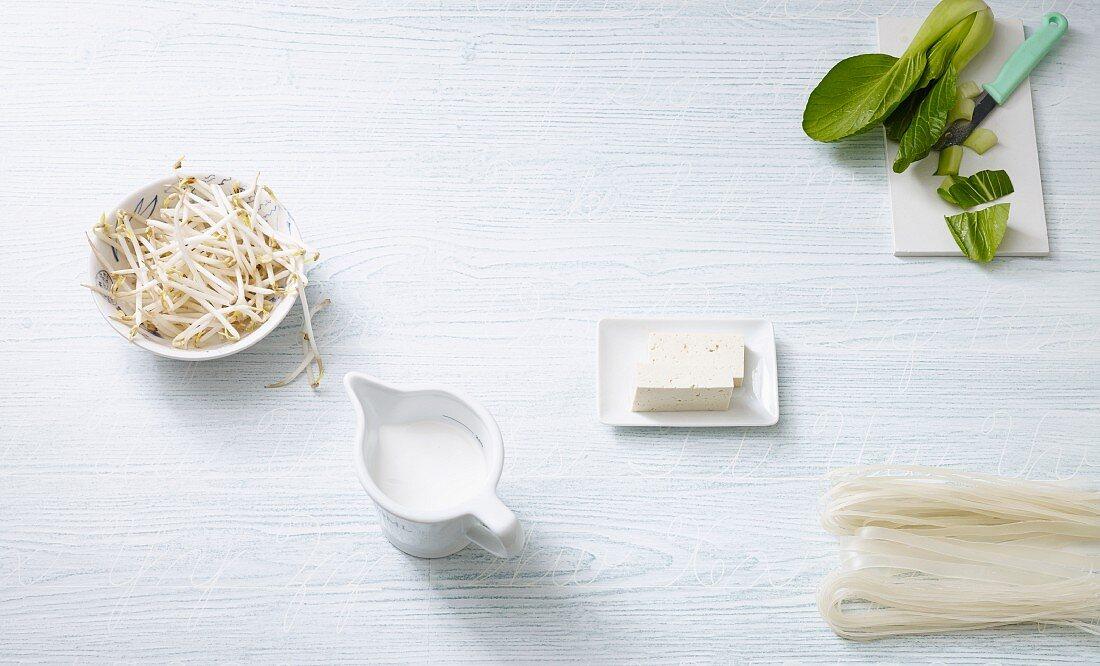 An arrangement of vegan coconut milk, bean sprouts, tofu, bok choy and rice noodles