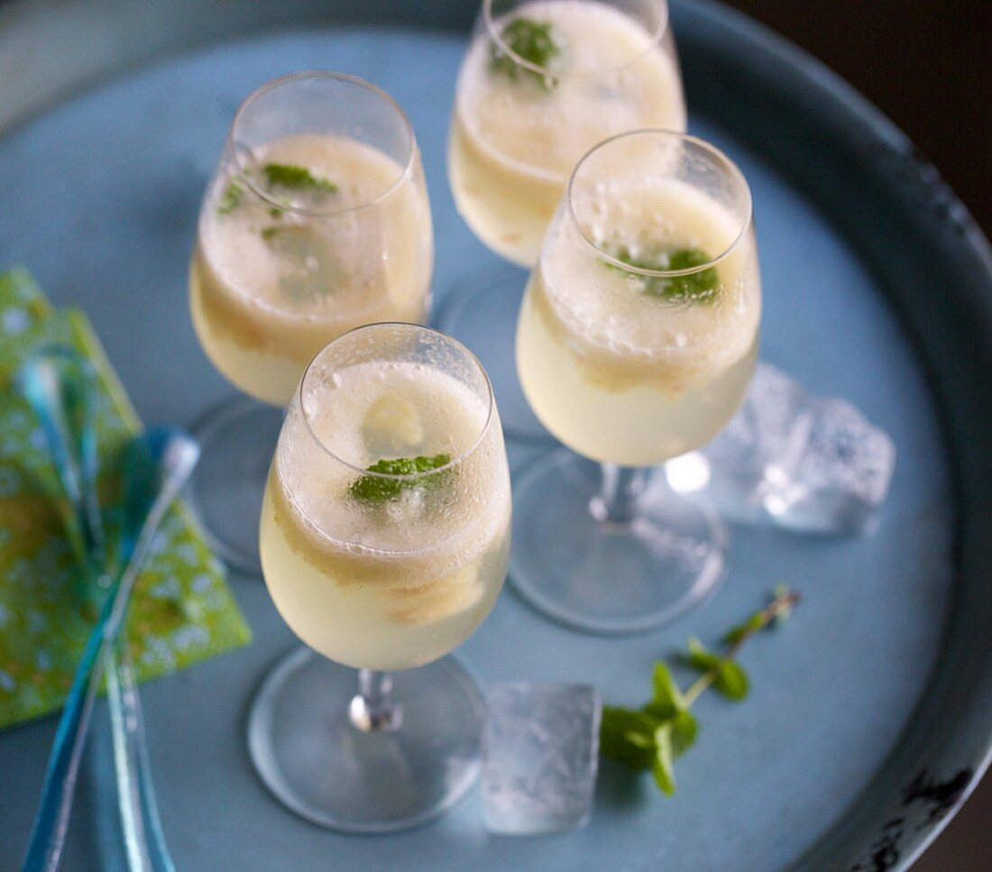 Bellinis with white peach
