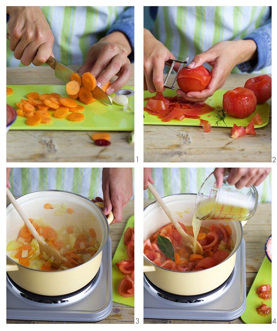 Quick tomato sugo being made