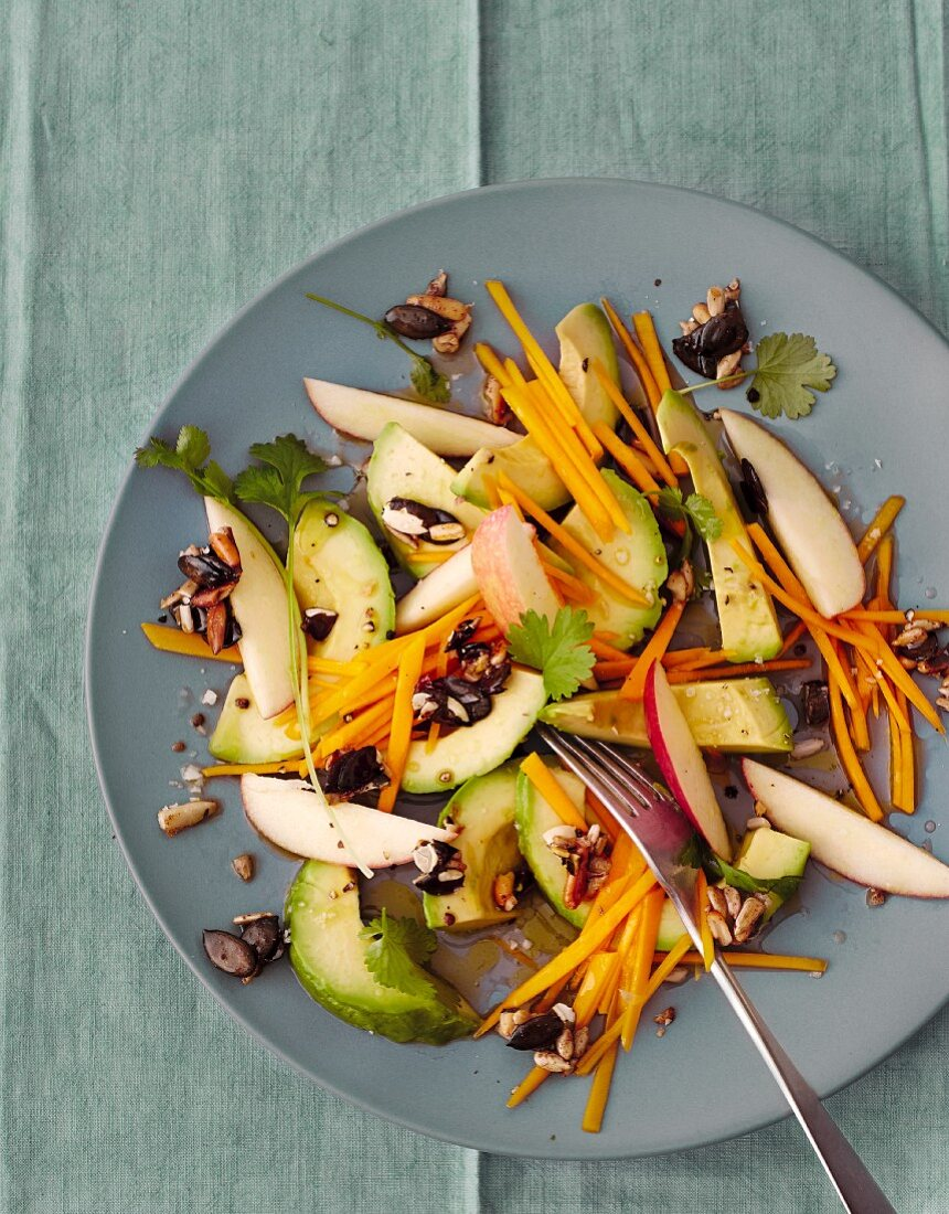 Avocado salad with Muscade de Provence pumpkin and mixed seeds
