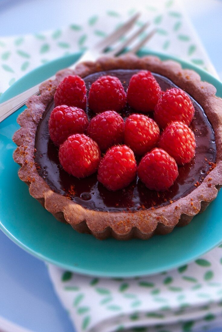 A chocolate and raspberry tartlet