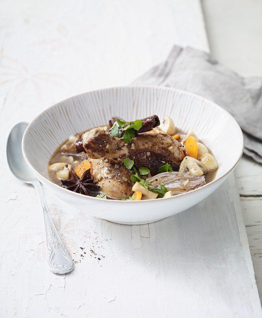 Oriental stir-fried coq au Vin