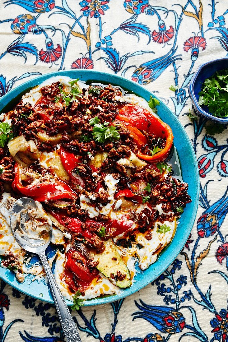 Ali Nazik kebab with minced meat, peppers and yoghurt (Turkey)