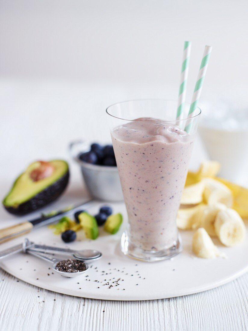 Nourishing smoothie with avocado, bananas and chia seeds