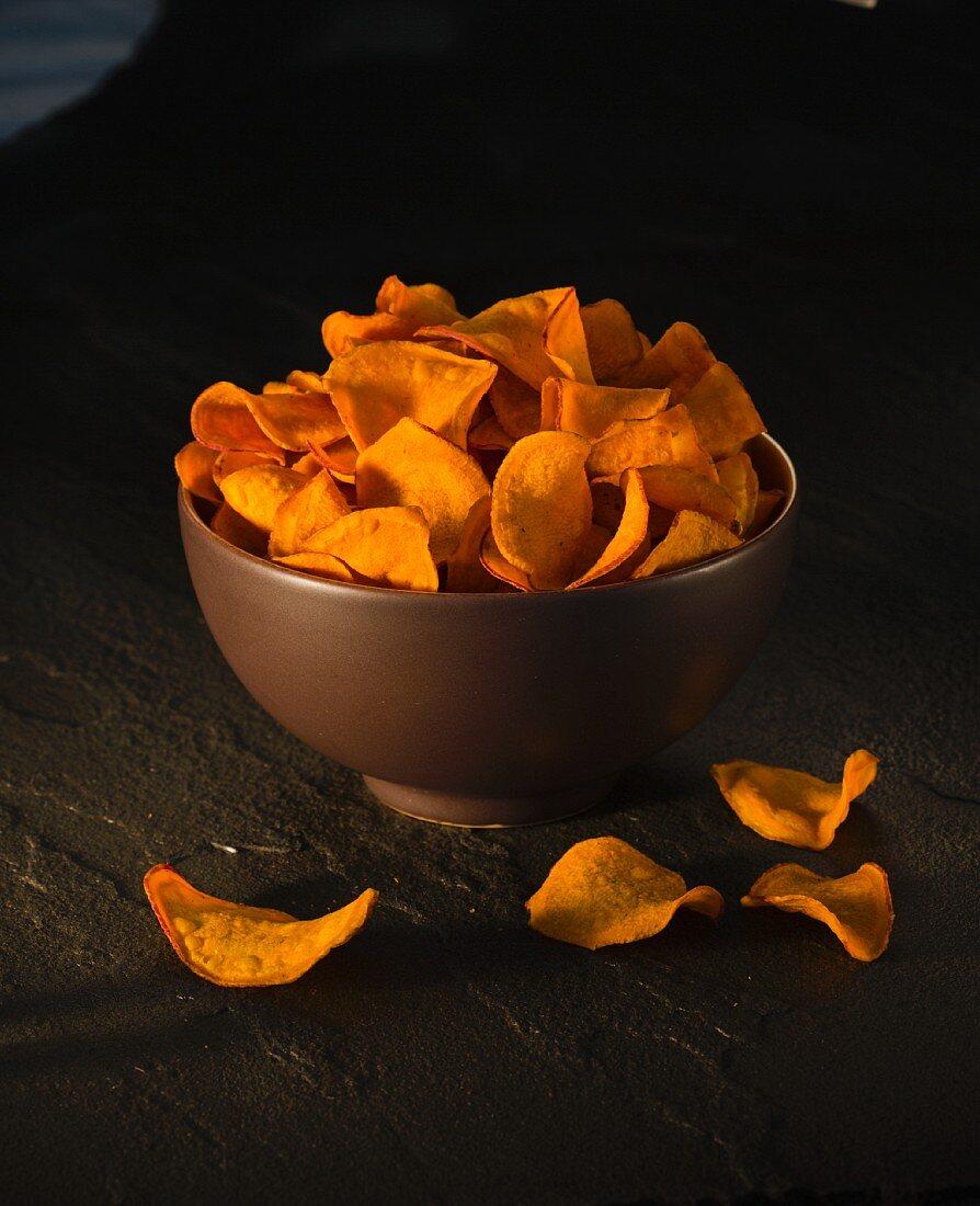 A bowl of sweet potato crisps