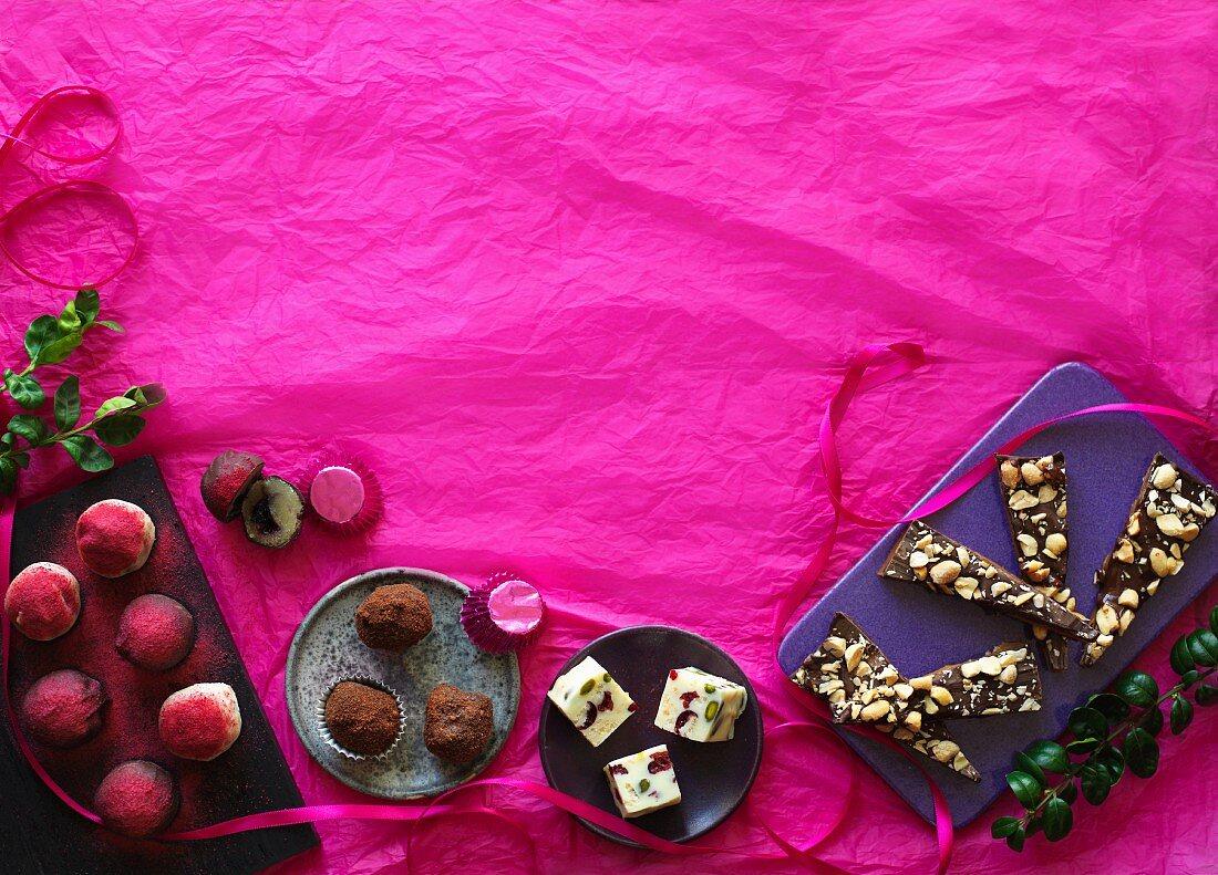 Homemade Christmas chocolates, French nougat, marzipan and caramel
