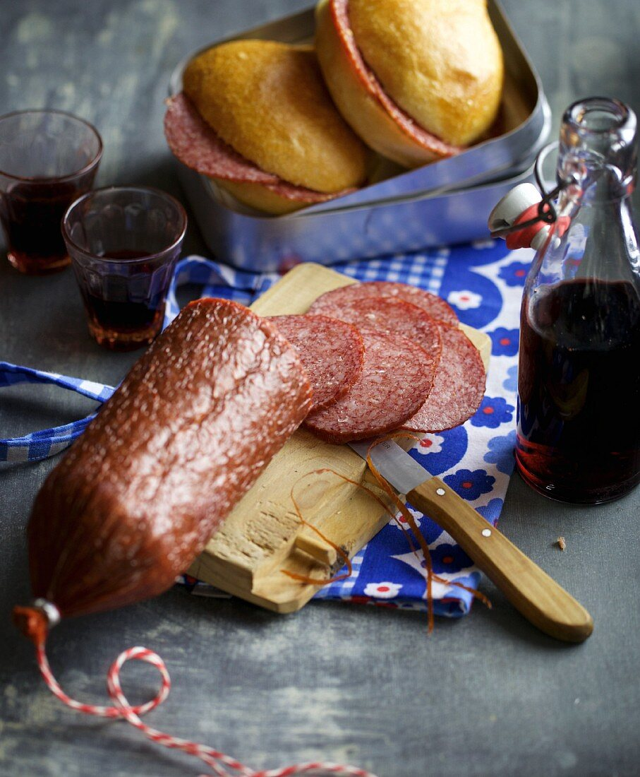 Homemade salami with red wine and fennel seeds