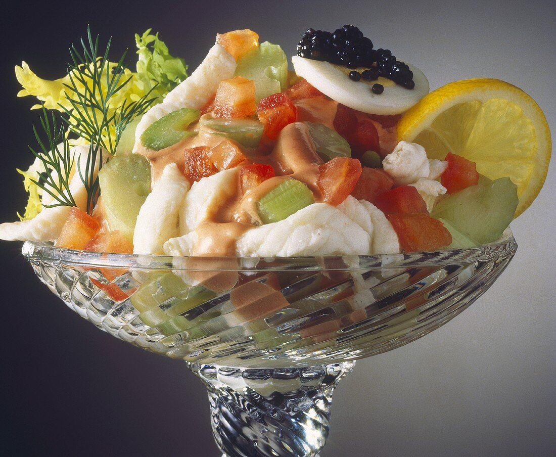 Seafood Cocktail Salad in a Glass Dish