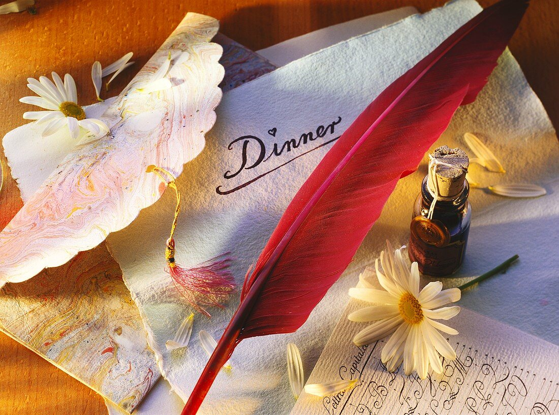 Dinner Invitaion with Feather Pen and Daisy