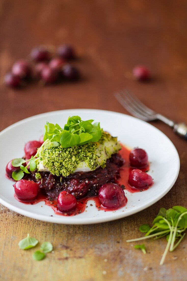 Rose fish fillet with a herb crust on a bed of gooseberry chutney