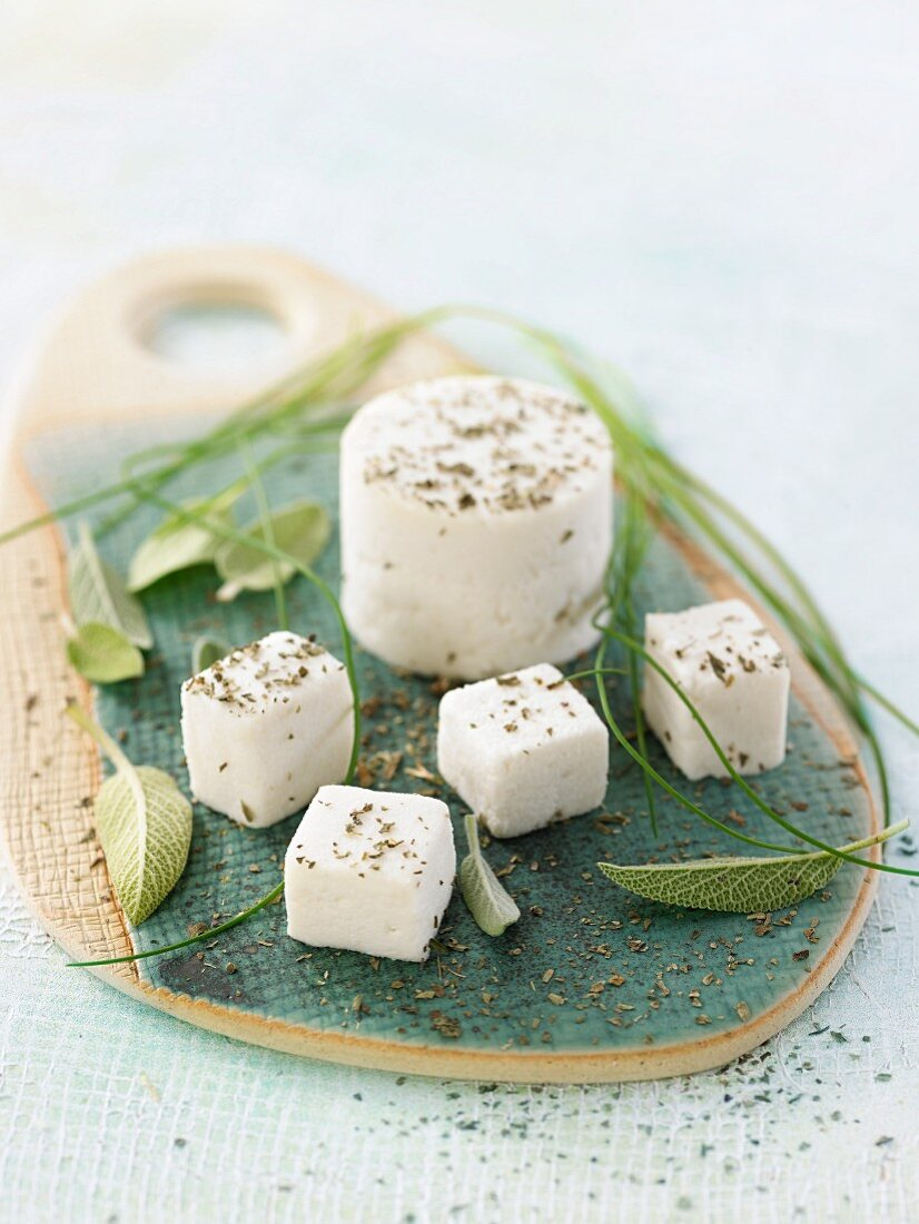 Vegan macadamia nut and cashew nut cheese with pepper