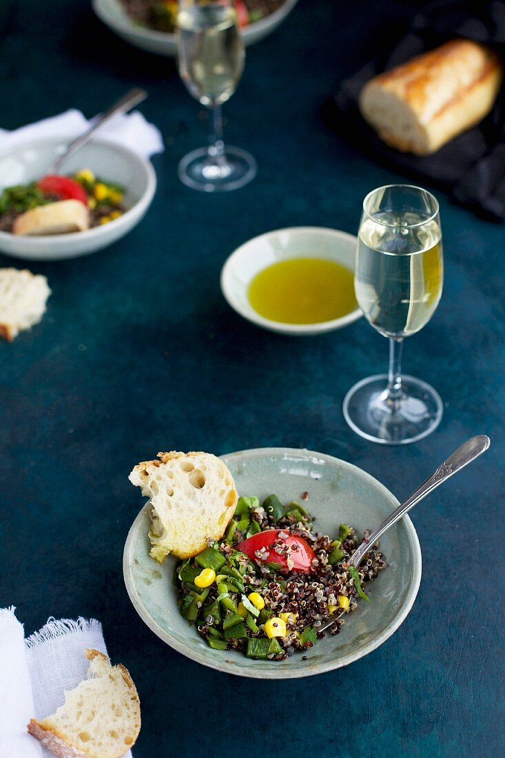 Roasted Poblano Quinoa topped with Corn, Tomatoes and Cilantro, served with White Wine, Olive Oil and Bread