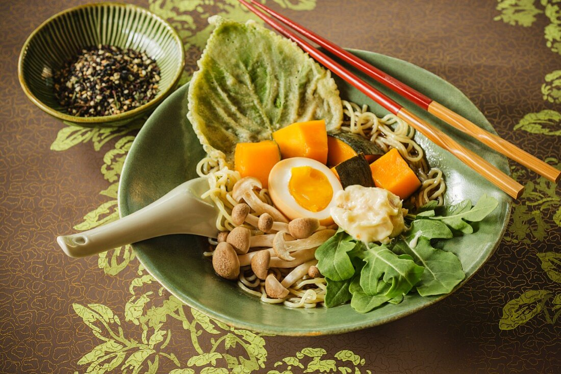Japanese kabocha ramen soup with pumpkin and mushrooms
