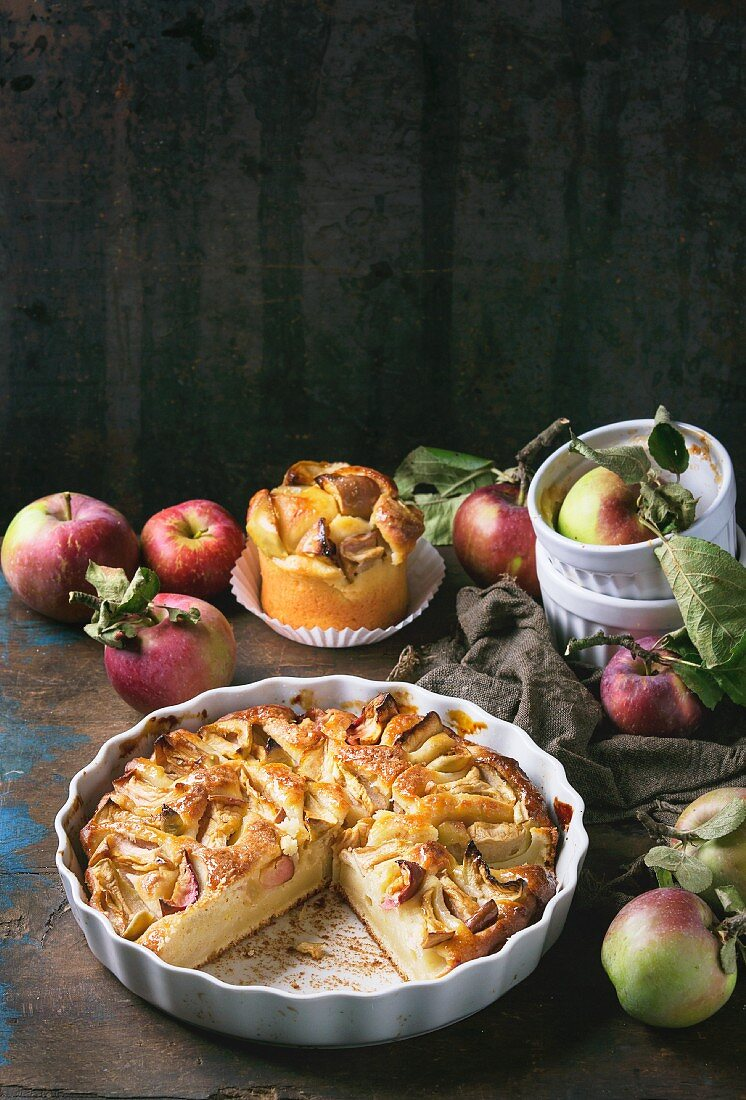 A large and a small apple and cottage cheese cake with fresh apples on a dark wooden surface